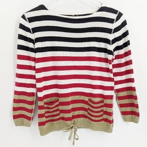 Anthropologie One Girl Who Striped Cotton Sweater